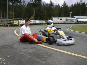 coaching go kart driver about vision